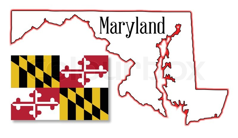 Outline map of the state of Maryland with map inset Stock Vector