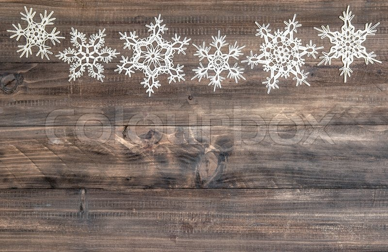 Snowflakes Border Over Rustic Wooden Background Christmas
