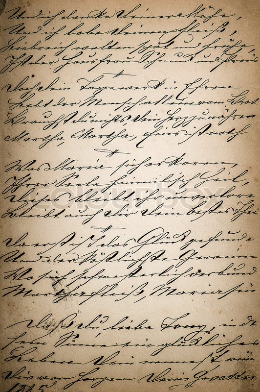 Vintage handwriting. page of old poetry book. manuscript. aged paper ...