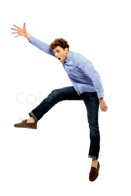 Funny Man Jumping Over White Background Stock Photo