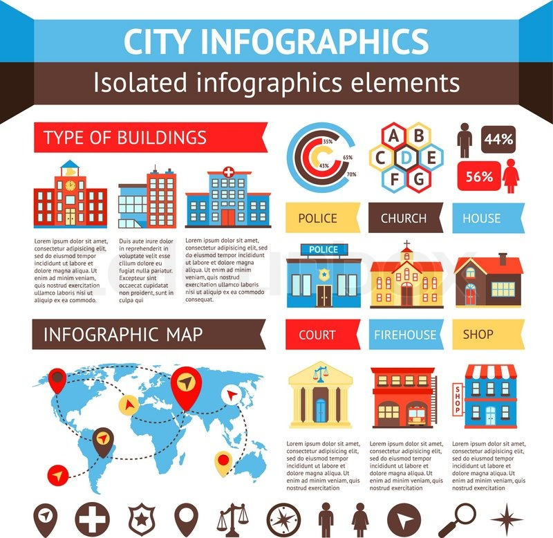 city government building infographic set with charts and