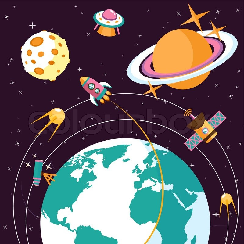 Space Concept With Globe And Rocket Stock Vector