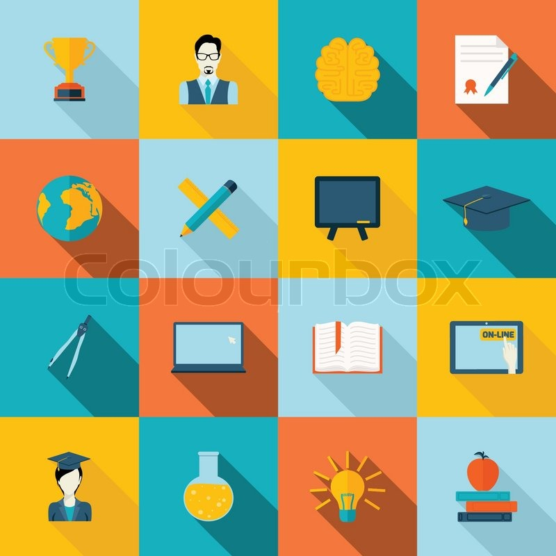 education school university e learning flat icons set with