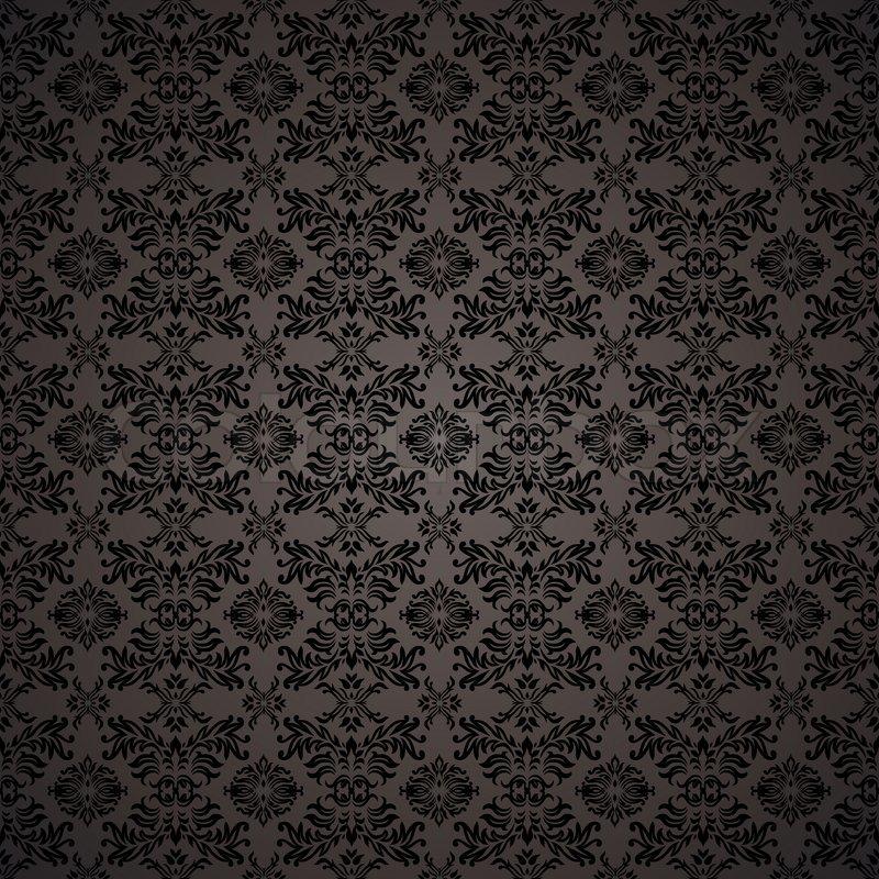 Schwarze Gothic Wiederholen Nahtlose Tapete Hintergrund Design Konzept Stock Vektor