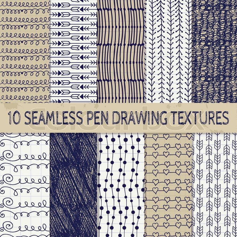 set of ten abstract pen drawing seamless textures with transparent