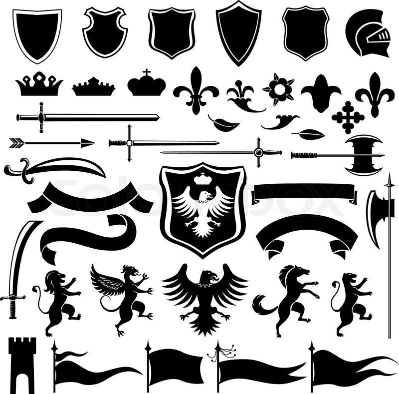 Black Baroque Shield Elements Vector: Heraldic Medieval Vintage Set Black Decorative Icons Set