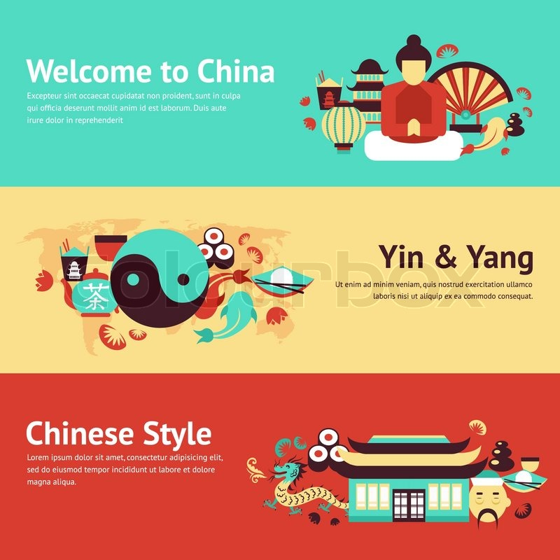 China Travel Asian Traditional Culture Chinese Style Symbols Banner