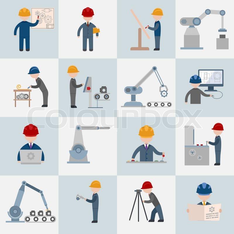 Engineering construction worker machine operator mechanic flat icons set isolated vector ...