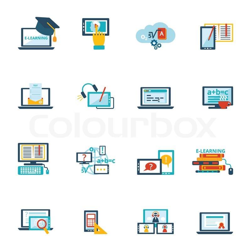Online education e-learning video tutorial training flat ...