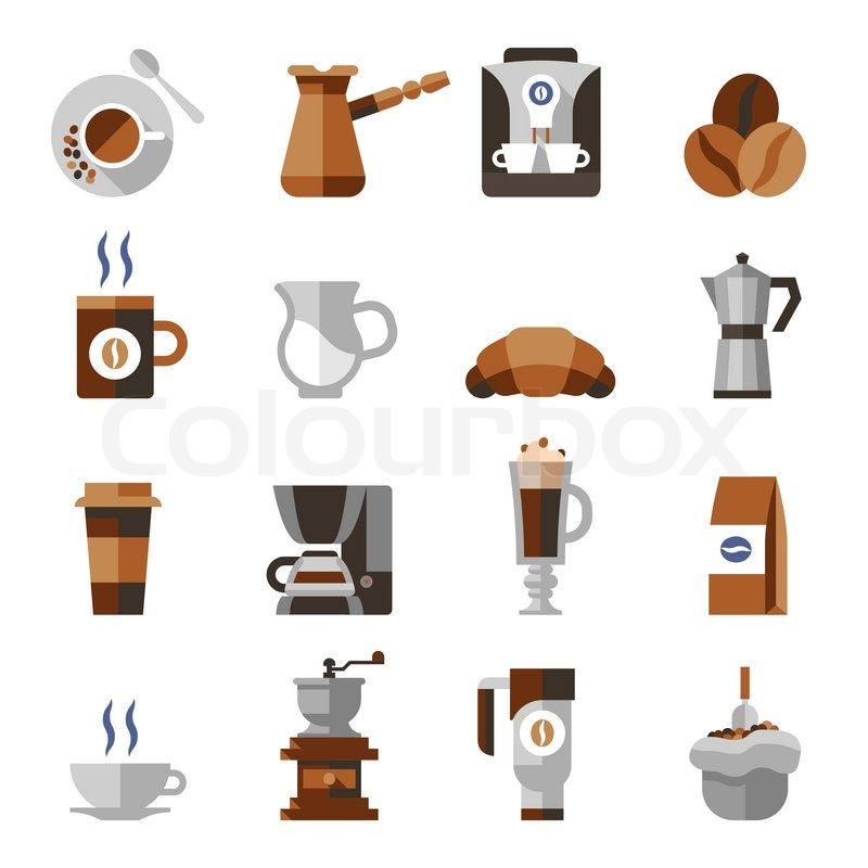 Coffee Icons Flat Set With French Press Machine Pouch