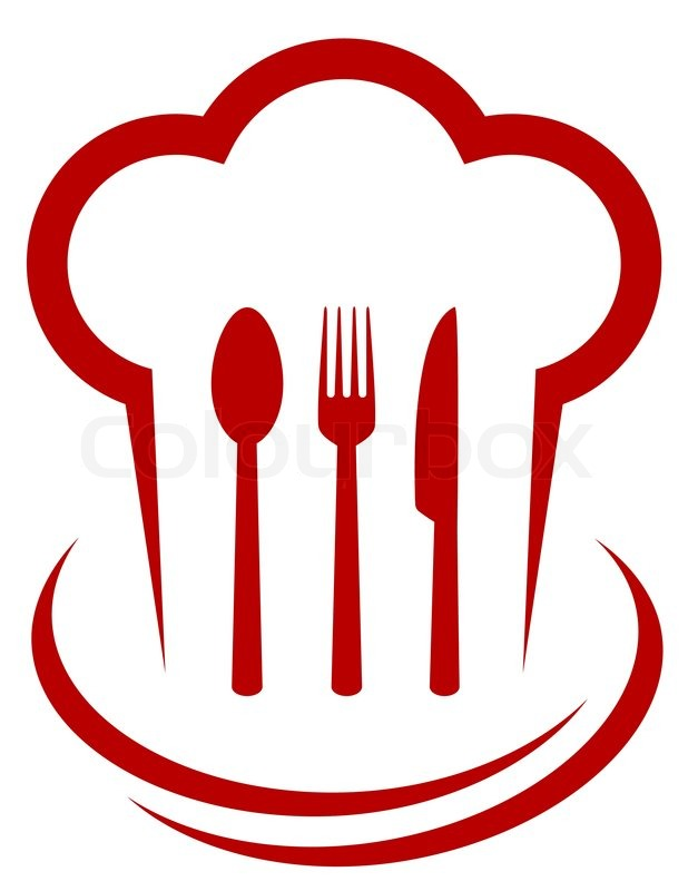 red icon with chef hat and cutlery on white background Chef Hat Clip Art Chef Hat Clip Art Borders Free
