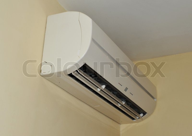 Air conditioner on a wall in the interior, stock photo