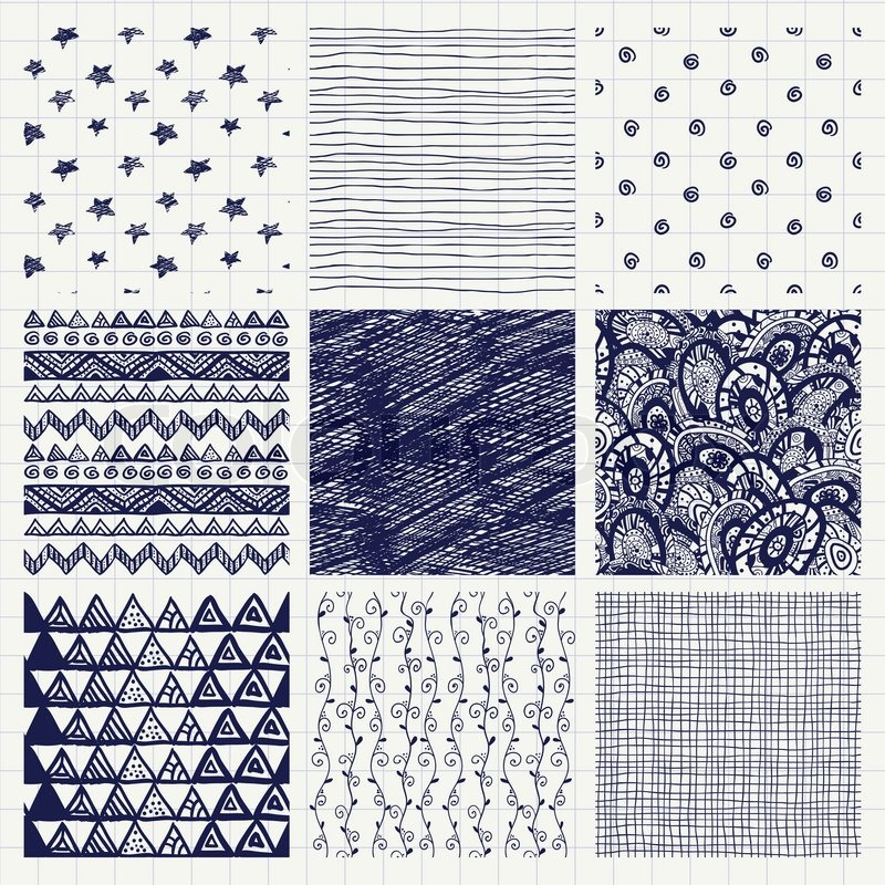 Set of Nine Abstract Pen Drawing Seamless Textures with ...