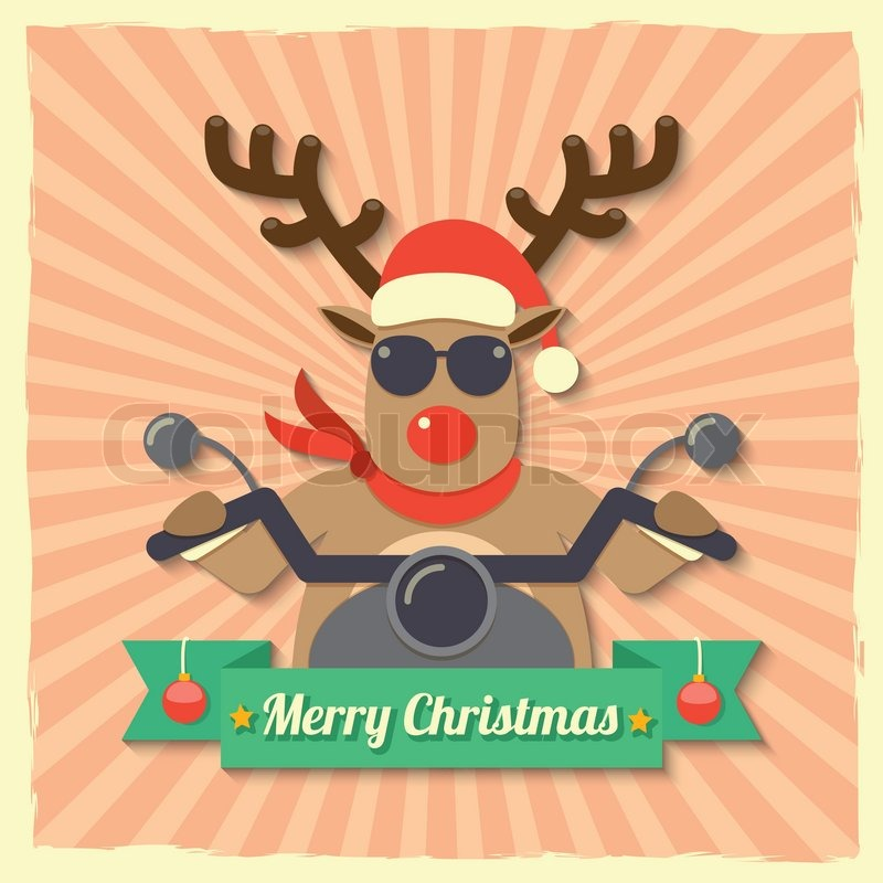 A reindeer wearing sunglasses and riding motorcycle within Merry ...