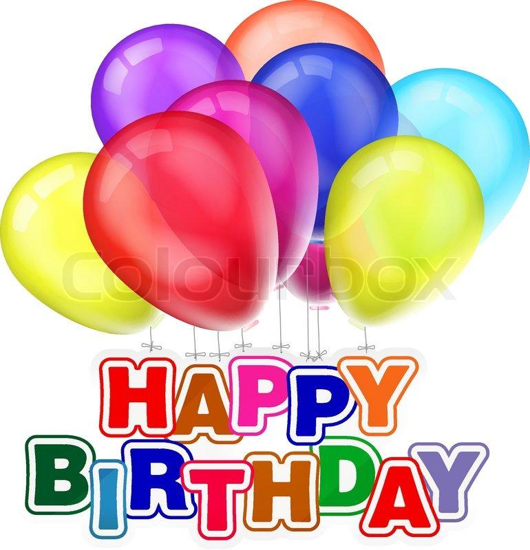 happy birthday design with balloons stock vector colourbox