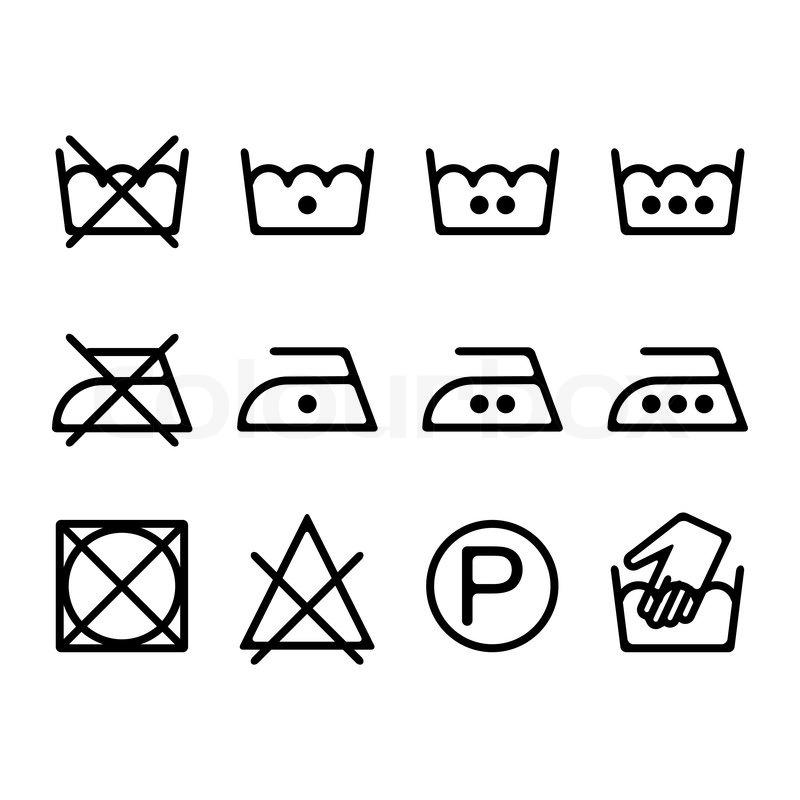 Set Of Instruction Laundry Icons Washing Symbols Stock Vector