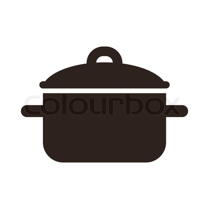 Cooking Pot Symbol Isolated On White Stock Vector