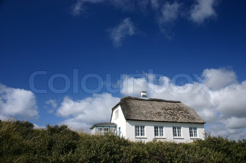 Stock image of 'Traditional house   in denmark a sunny summer day'