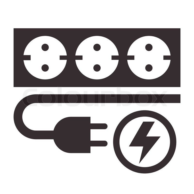 Power Outlet Plug And Lightning Sign On White Background