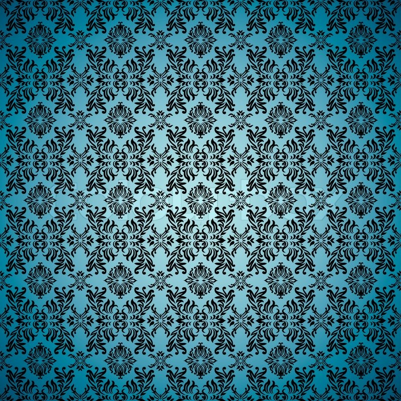 Blue Seamless Wallpaper Background With Tile Gothic Desain