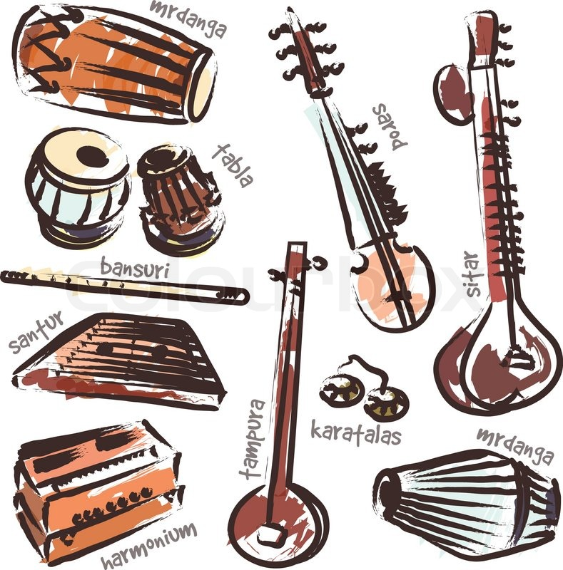 Vector set of isolated traditional indian instruments ...