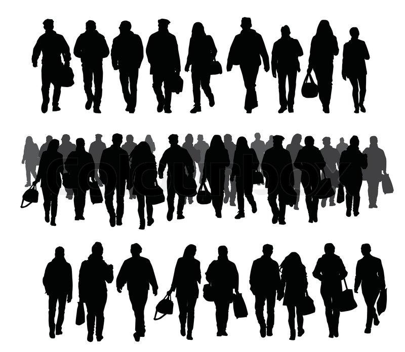 Silhouette Of People Walking On Street: Silhouettes Of People Walking On The Street