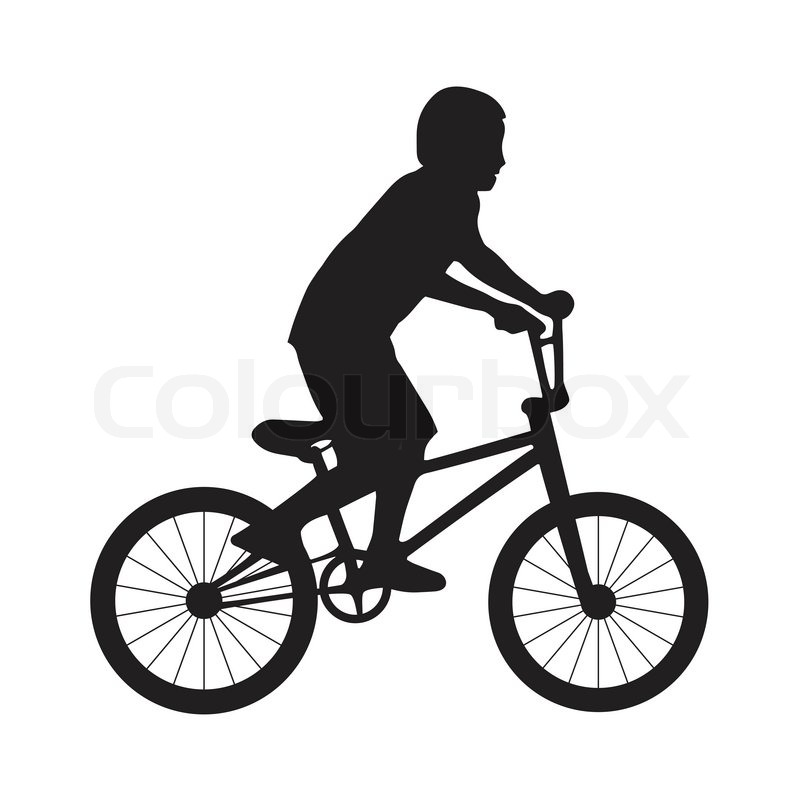 Silhouette boy ride bicycle | Stock Vector | Colourbox