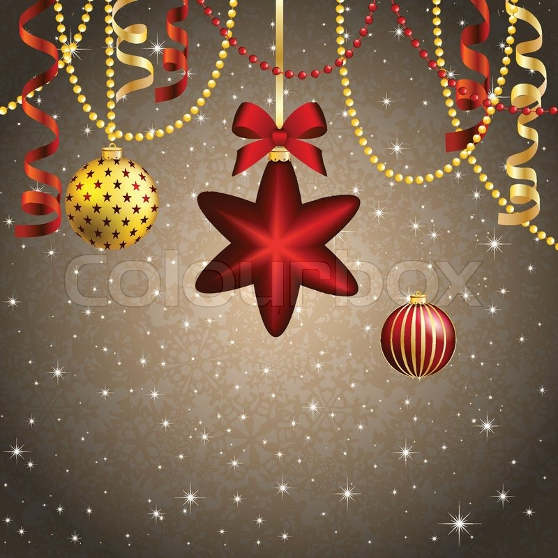 new year background christmas ball with bow and ribbon xmas decorations sparkles and bokeh shiny and glowing use as a greeting card