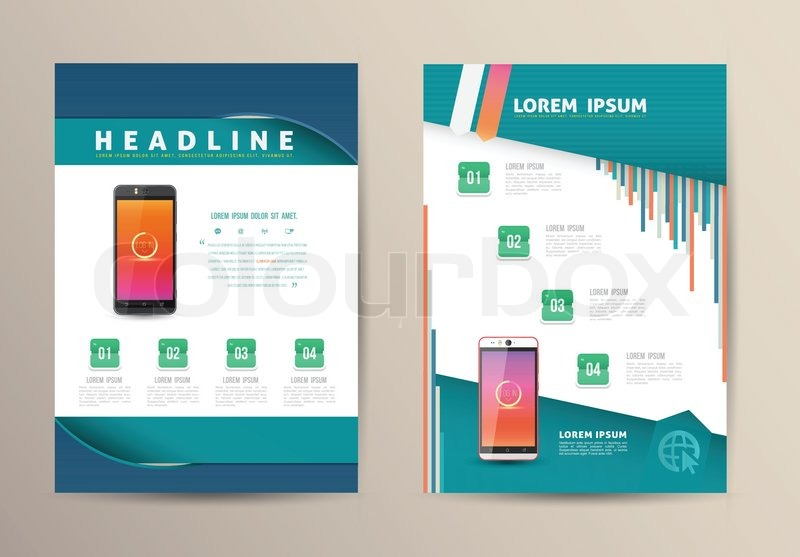 brochure flyer design vector template with smartphone vector