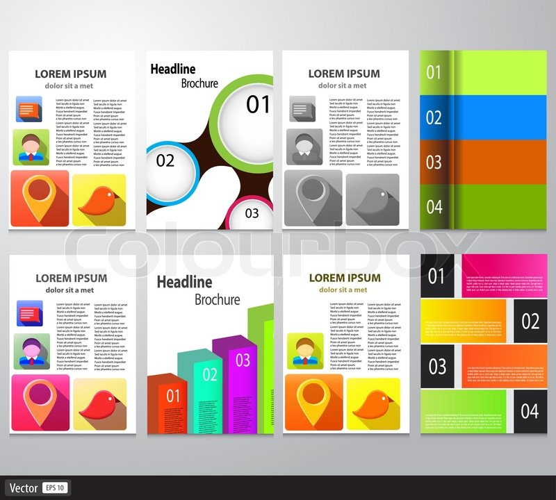 Set Of Flyer Brochure Design Template Vector Abstract Colorful - Infographic brochure template
