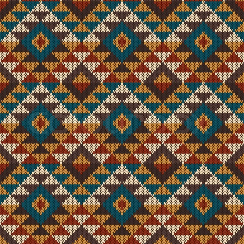 Vector Illustration Of Seamless Tribal Knitted Wool Aztec Design