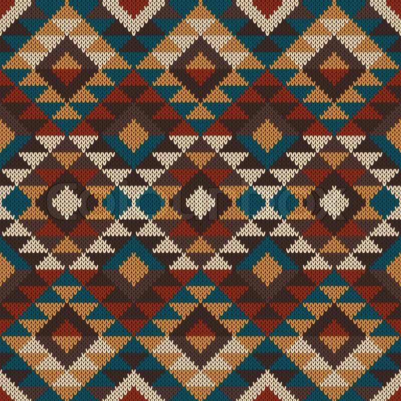 Vector illustration of seamless tribal knitted wool aztec design Beauteous Aztec Pattern