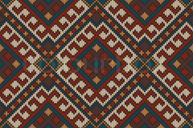 Vector illustration of seamless tribal knitted wool aztec design ...