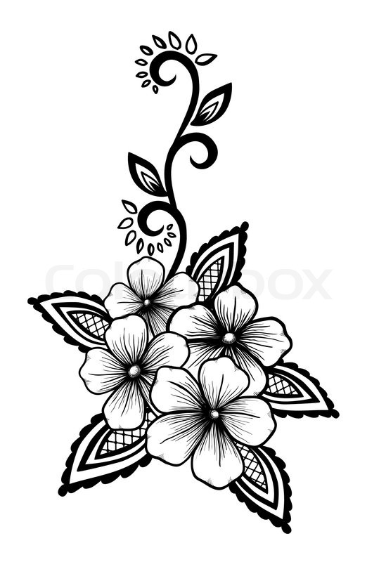 Beautiful floral element black and white flowers and leaves design element floral design element in retro style vector