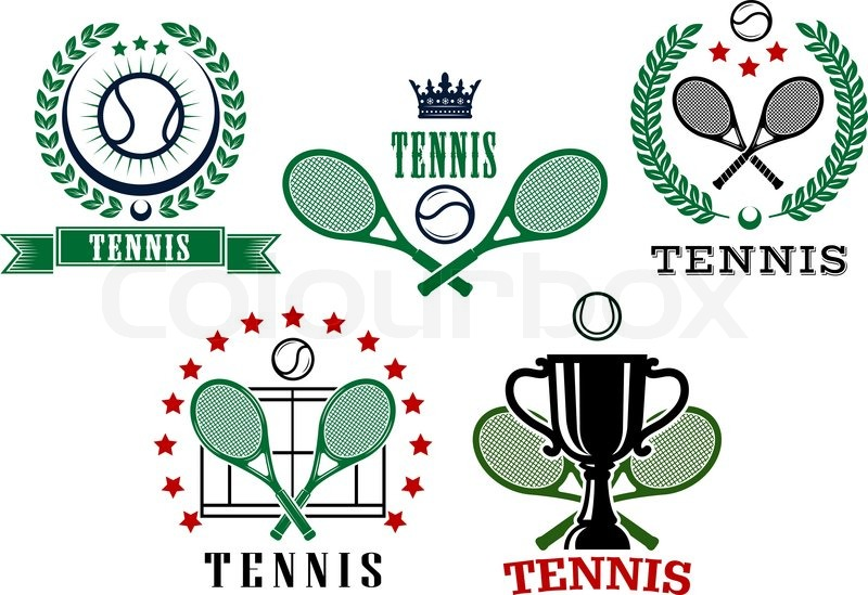 Assorted Tennis Tournament Symbols With Ball Crossed