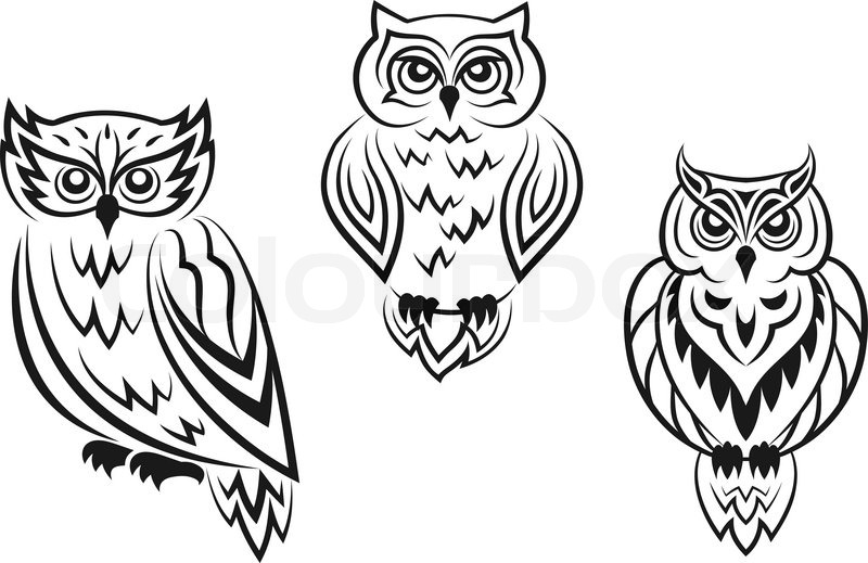 Black And White Owl Bird Tatoos In Stock Vector Colourbox