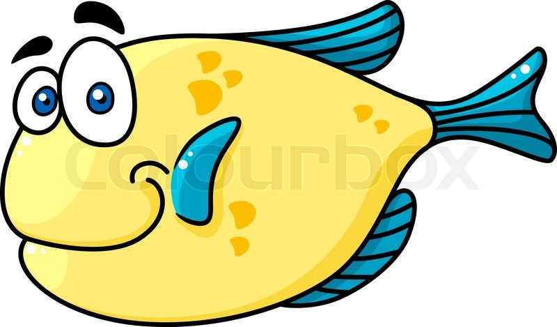 Cartooned yellow and blue smiling fish character with big for Big fish characters