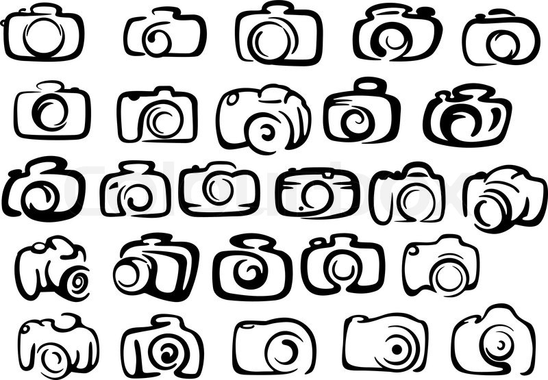 Digital And Film Camera Icons In Silhouette Style For Photographyand