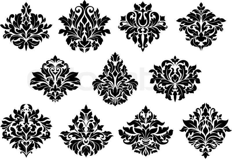 damask floral design elements set with black flowers isolated on
