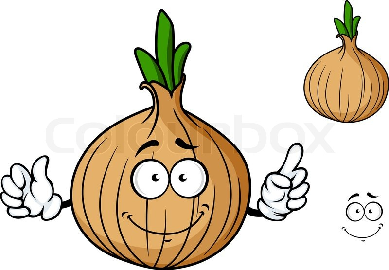 Cartoon onion vegetable character with happy smiling face ...