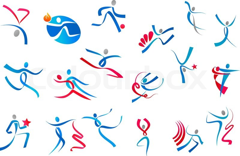 Sportive And Dancing People Icons In Blue Red Ribbons Isolated On White Background For Sports Or Dance Logo Design Vector