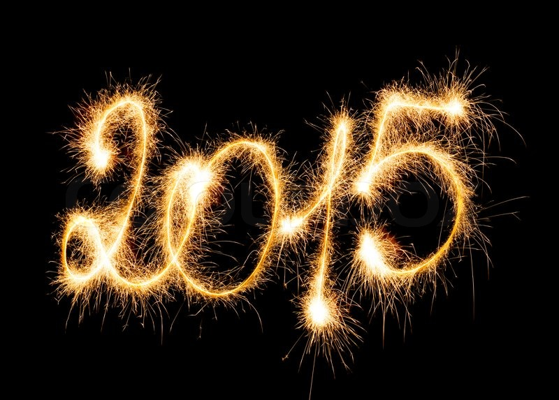 Happy New Year - 2015 with sparklers, stock photo