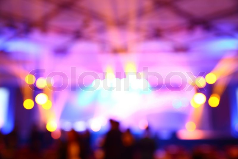 Stock image of 'Abstract blurry light in convention event hall'