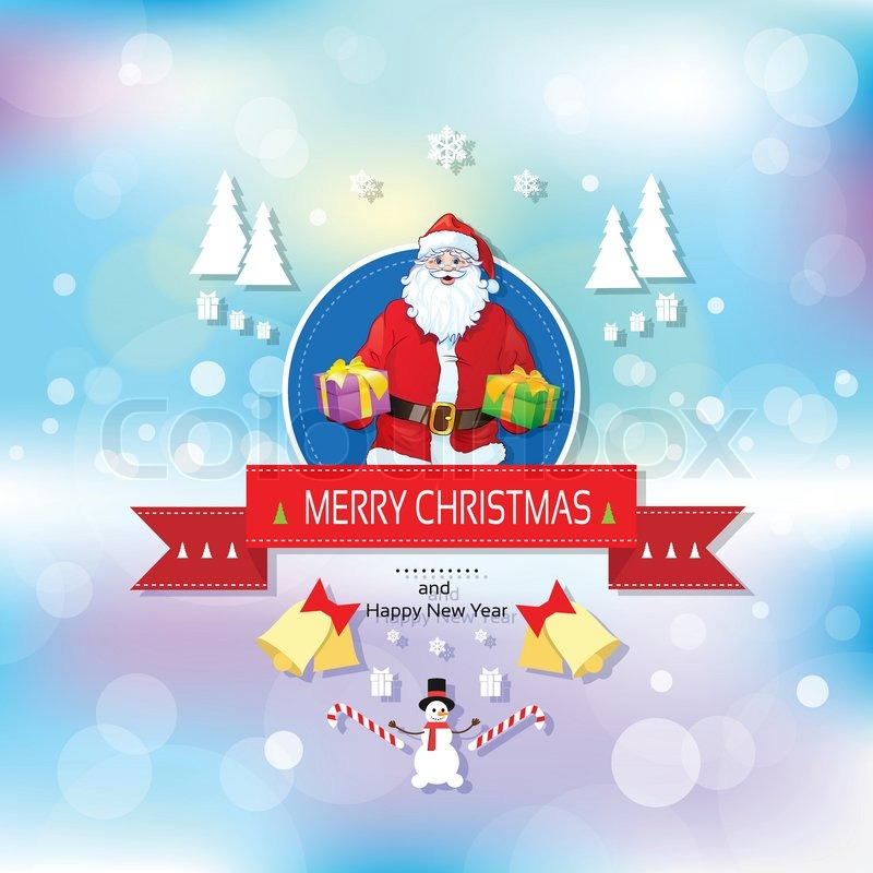 Santa claus on christmas greeting card holding gift box presents santa claus on christmas greeting card holding gift box presents with merry christmas and happy new year banner with snowman over abstract background m4hsunfo