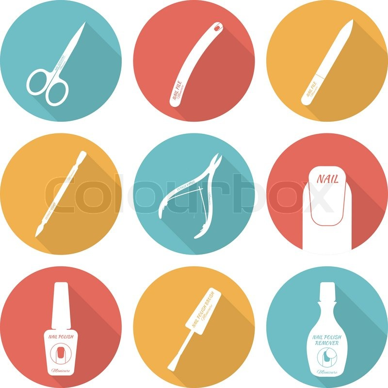 Set Of Flat Icons Tools And Accessories For Nail Care