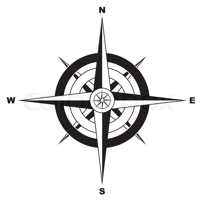 Black And White Simple Illustrated Compass Vector