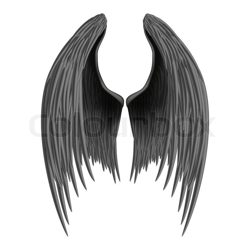 Black Folded Angel Wings Isolated On White Background