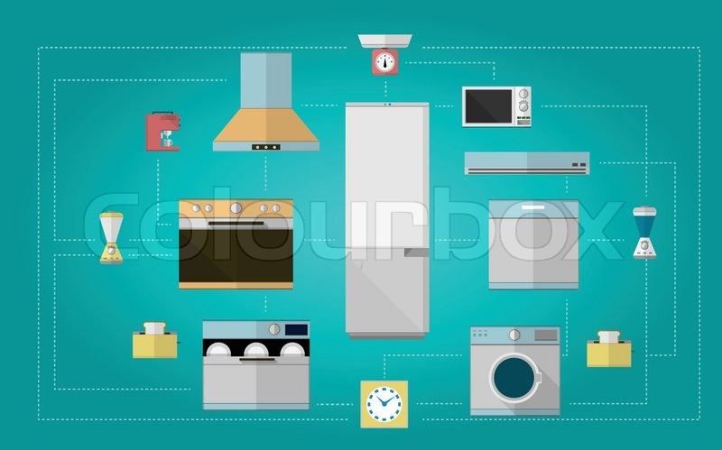 Set Design Of Colored Flat Vector Icons For Home With Kitchen Equipment On Bl