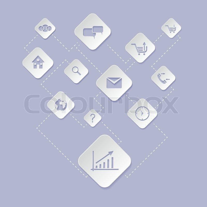 Iphone Icon Sets Flat Design White Icon Set of Web Application For Business e Commerce on