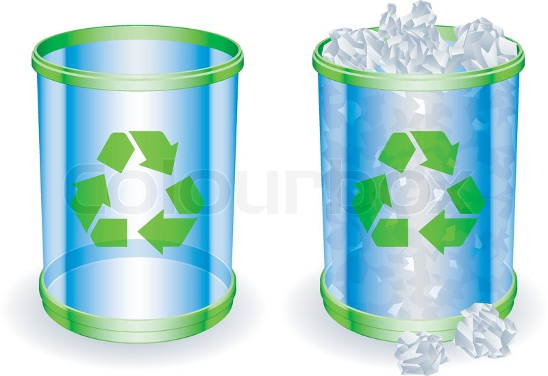 Garbage Cans With Trash For Kids Cute Monster Faces Vector Icons